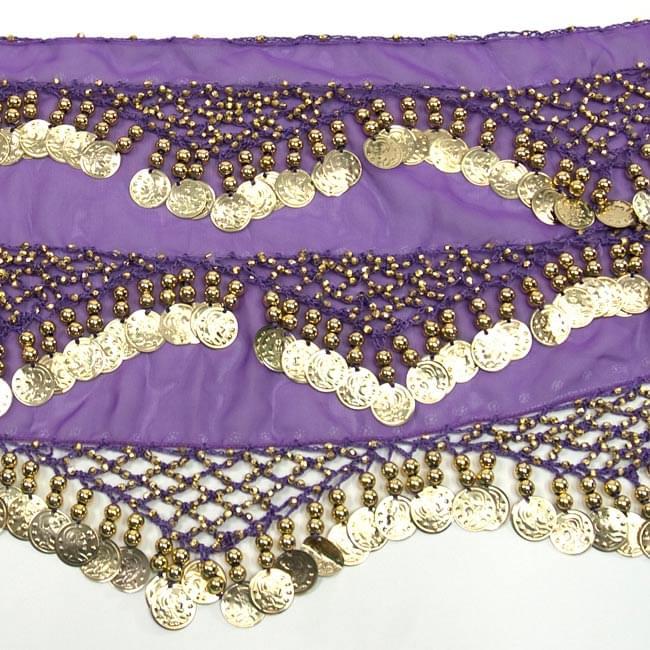 ベリーダンス ヒップスカーフ 250コイン - 紫 3 - 拡大写真です