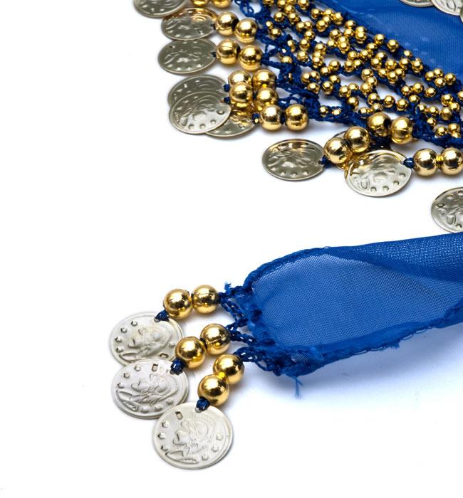 ベリーダンス ヒップスカーフ 180コイン - 青 4 - 端部分はこのようになっております