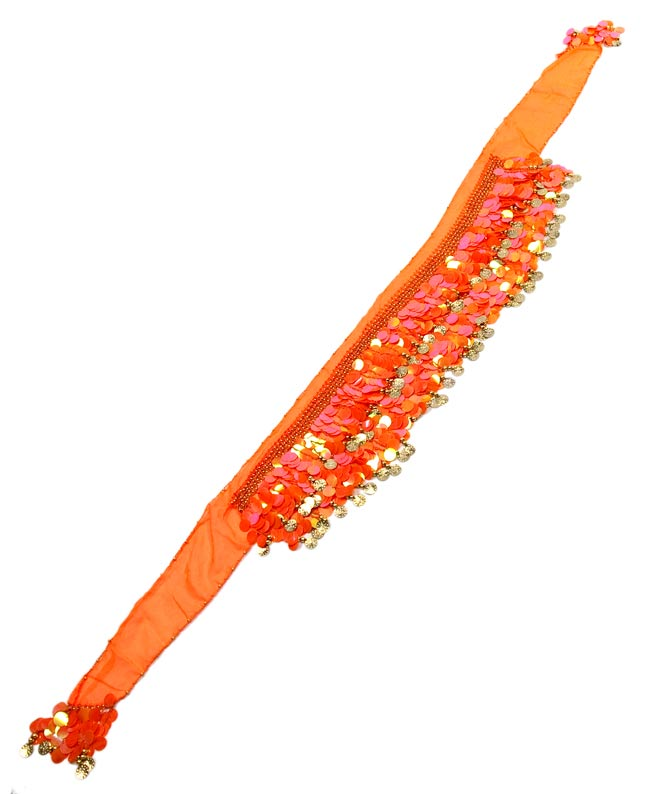 ベリーダンス スケール ヒップスカーフ - オレンジの写真2 - 平らなところに広げてみました