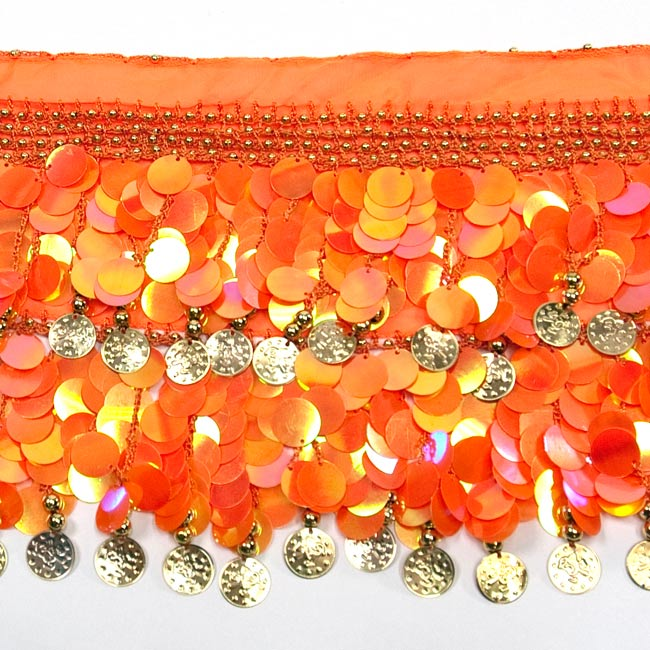 ベリーダンス スケール ヒップスカーフ - オレンジの写真3 - 拡大写真です