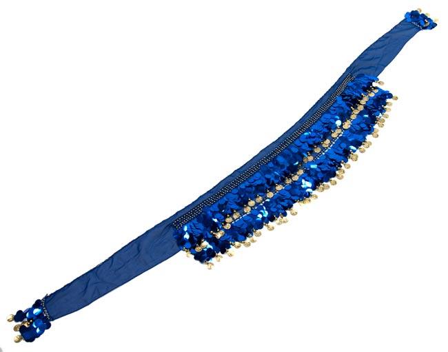 ベリーダンス スケール ヒップスカーフ - 青 2 - 平らなところに広げてみました