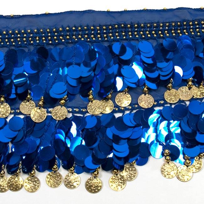 ベリーダンス スケール ヒップスカーフ - 青 3 - 拡大写真です