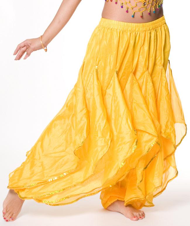 ベリーダンス用フレアパンツ【ゴムタイプ】 - 黄 2 - とても動きやすく、フレアが素敵な一品です。