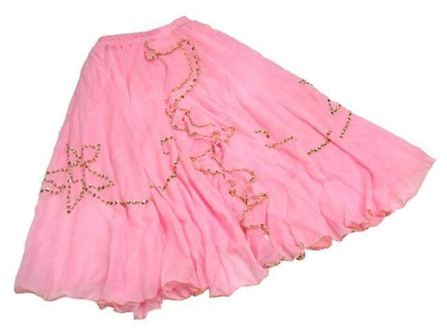 ベリーダンス用スパンコールスカート【ゴムタイプ】 - ピンク 2 - 全体の写真です。