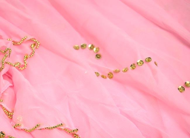 ベリーダンス用スパンコールスカート【ゴムタイプ】 - ピンク 3 - 装飾部分の拡大です。きれいに作られています