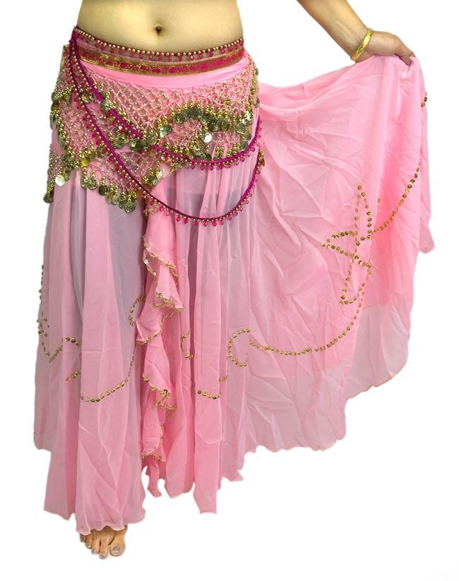 ベリーダンス用スパンコールスカート【ゴムタイプ】 - ピンクの写真