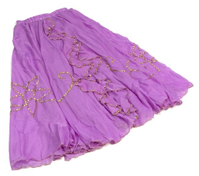 ベリーダンス用スパンコールスカート【ゴムタイプ】 - 薄紫 2 - 全体の写真です。