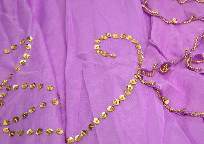 ベリーダンス用スパンコールスカート【ゴムタイプ】 - 薄紫 3 - 装飾部分の拡大です。きれいに作られています