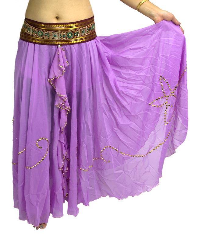 ベリーダンス用スパンコールスカート【ゴムタイプ】 - 薄紫の写真
