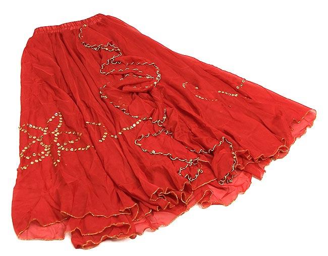ベリーダンス用スパンコールスカート【ゴムタイプ】 - 赤 2 - 全体の写真です。