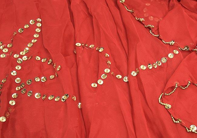 ベリーダンス用スパンコールスカート【ゴムタイプ】 - 赤 3 - 装飾部分の拡大です。きれいに作られています