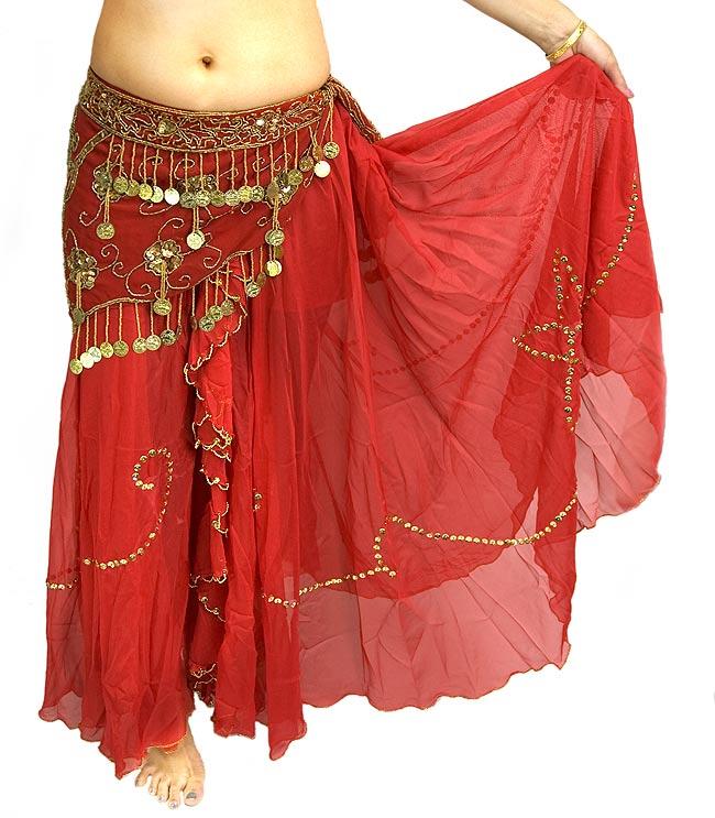 ベリーダンス用スパンコールスカート【ゴムタイプ】 - 赤の写真