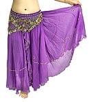 ベリーダンス用スパンコールスカート【ゴムタイプ】 - 紫