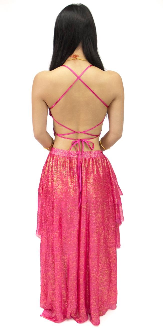 ベリーダンス衣装 スカート・ブラ 上下セット - 赤紫 2 - 後ろはこんな感じです