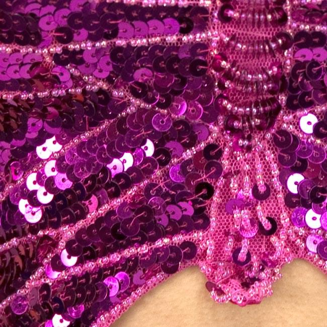 ベリーダンス衣装 スカート・ブラ 上下セット - 赤紫 3 - 胸の部分を拡大しました。ビーズが綺麗に付けられています