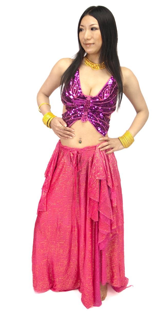 ベリーダンス衣装 スカート・ブラ 上下セット - 赤紫の写真