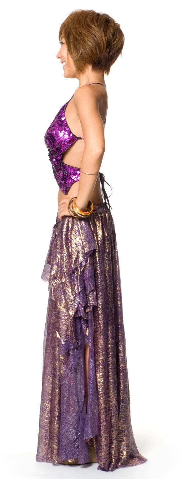 ベリーダンス衣装 スカート・ブラ 上下セット - 紫 2 - 横からの写真です