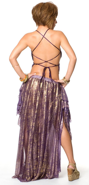 ベリーダンス衣装 スカート・ブラ 上下セット - 紫 3 - 後ろ姿です