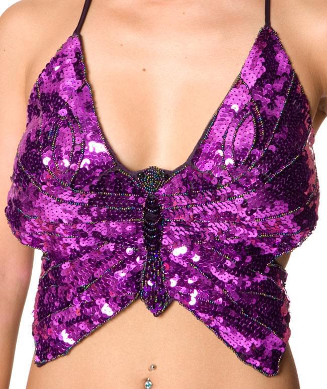 ベリーダンス衣装 スカート・ブラ 上下セット - 紫 5 - 正面からの写真です
