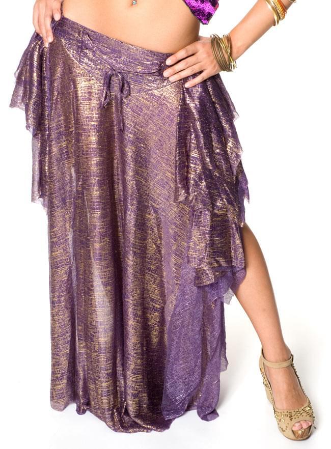 ベリーダンス衣装 スカート・ブラ 上下セット - 紫 7 - このようにスリットが入っております