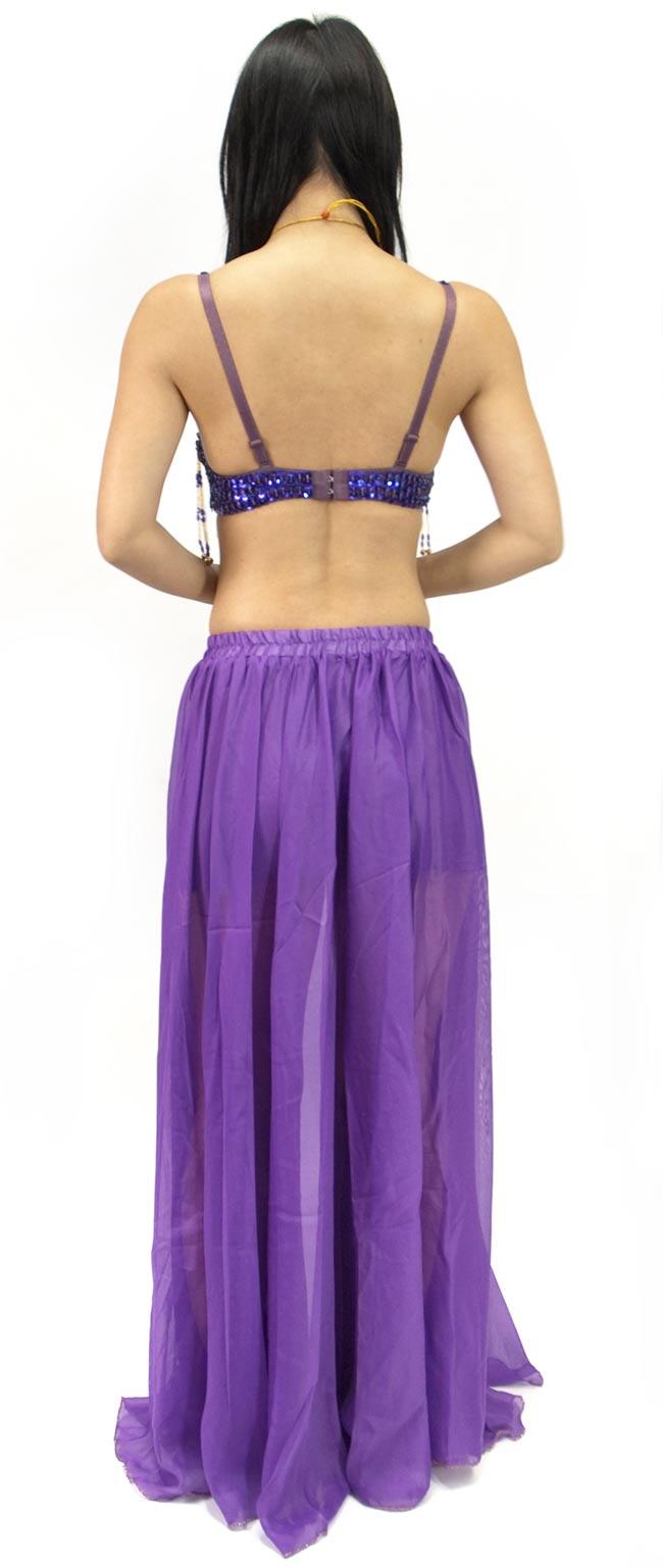 ベリーダンス衣装 スカート・ブラ 上下セット - 紫 2 - 後ろはこんな感じです