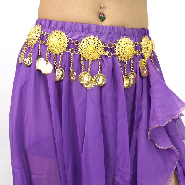ベリーダンス衣装 スカート・ブラ 上下セット - 紫 4 - スカートを拡大してみました
