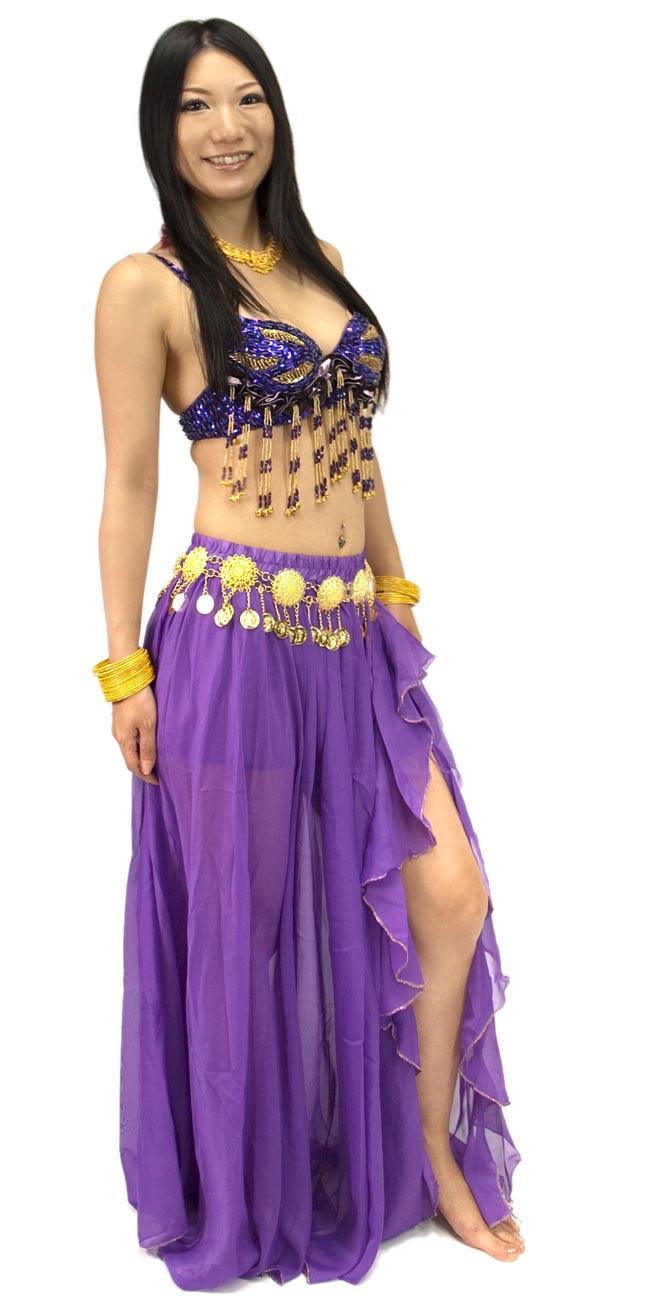 ベリーダンス衣装 スカート・ブラ 上下セット - 紫の写真