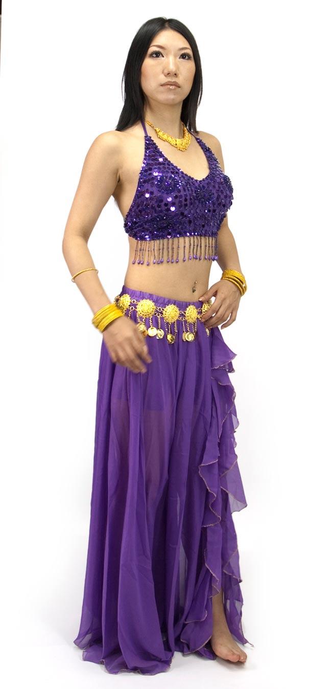 ベリーダンス用ビーズブラトップ【フリーサイズ】 - 紫 2 - 全体写真です。スカートは別の商品となっております