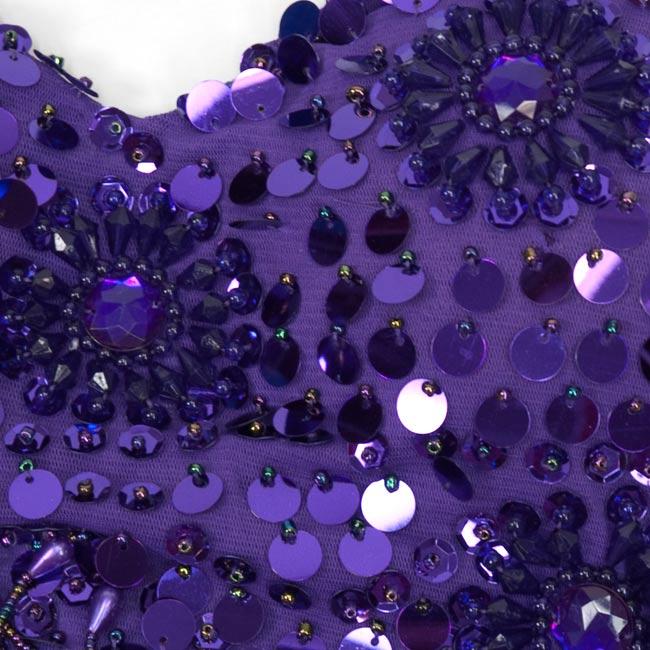 ベリーダンス用ビーズブラトップ【フリーサイズ】 - 紫 4 - 部分拡大です。ていねいに作られています