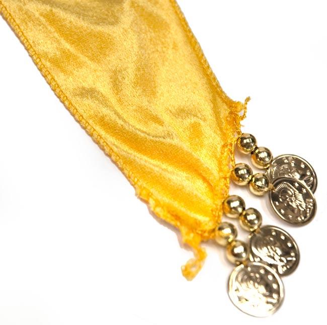 ベリーダンス ヴェルヴェット ヒップスカーフ - 黄色 3 - 端の部分を拡大してみました。なお、端のコインの有無はアソートとなります