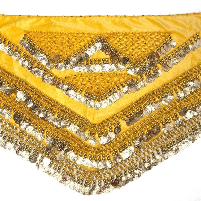 ベリーダンス ヴェルヴェット ヒップスカーフ - 黄色 5 - 正面から撮影しました