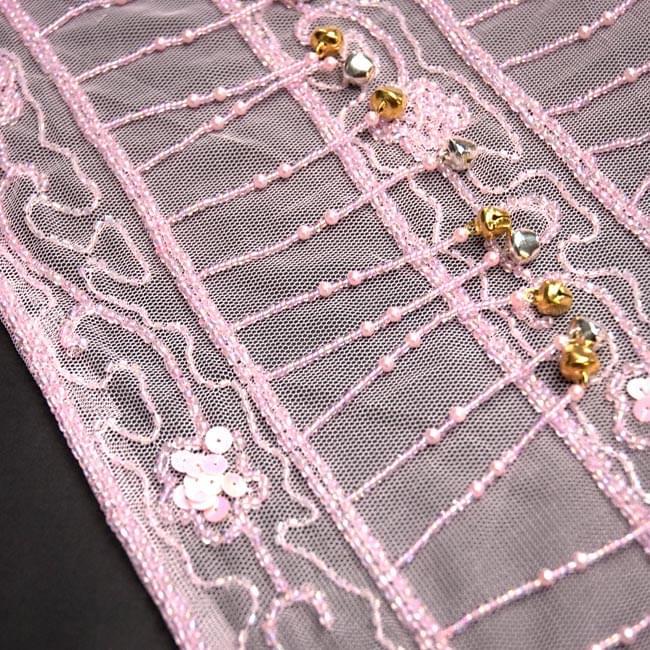 ベリーダンス 鈴付シースルー ヒップスカーフ - ピンク 2 - 拡大写真です