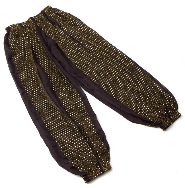 ラメ入りドット柄・ハーレムパンツ - 黒に金 3 - 平らな所において撮影してみました