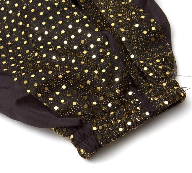 ラメ入りドット柄・ハーレムパンツ - 黒に金 4 - 布地のアップです。