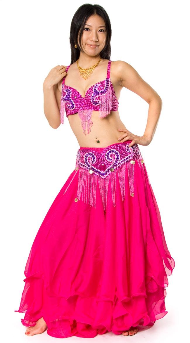 ベリーダンス衣装 フレアスカート・ブラ 上下セット - の写真