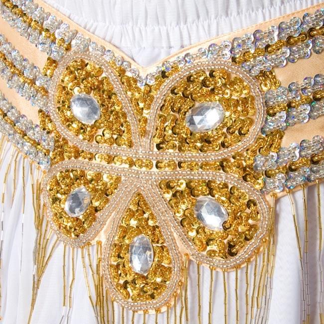 ベリーダンス衣装 フレアスカート・ブラ 上下セット -  2 - 腰ベルト部分の拡大写真です。スパンコールとビーズで装飾されていてきらきら光ります