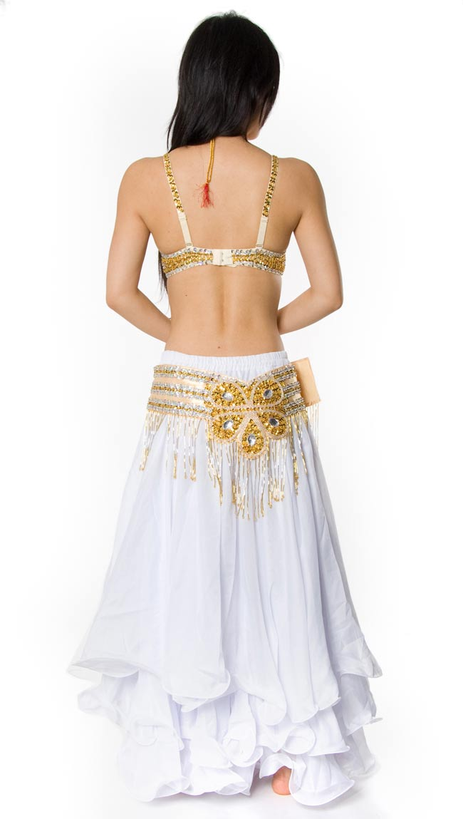 ベリーダンス衣装 フレアスカート・ブラ 上下セット -  5 - 後ろからの写真です