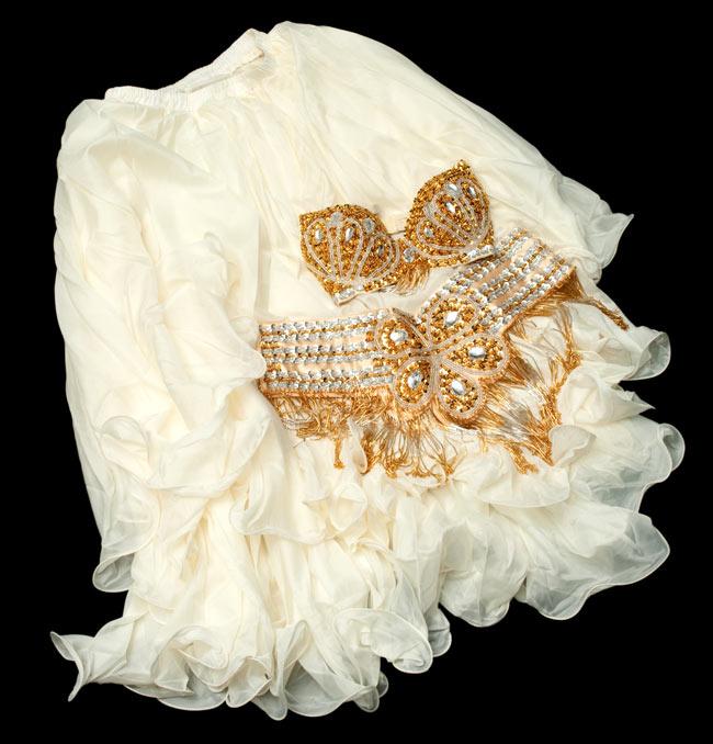 ベリーダンス衣装 フレアスカート・ブラ 上下セット -  6 - 【選択 - B】のアイボリー色の写真です。