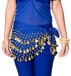 ベリーダンス ヒップスカーフ 150コイン - 青