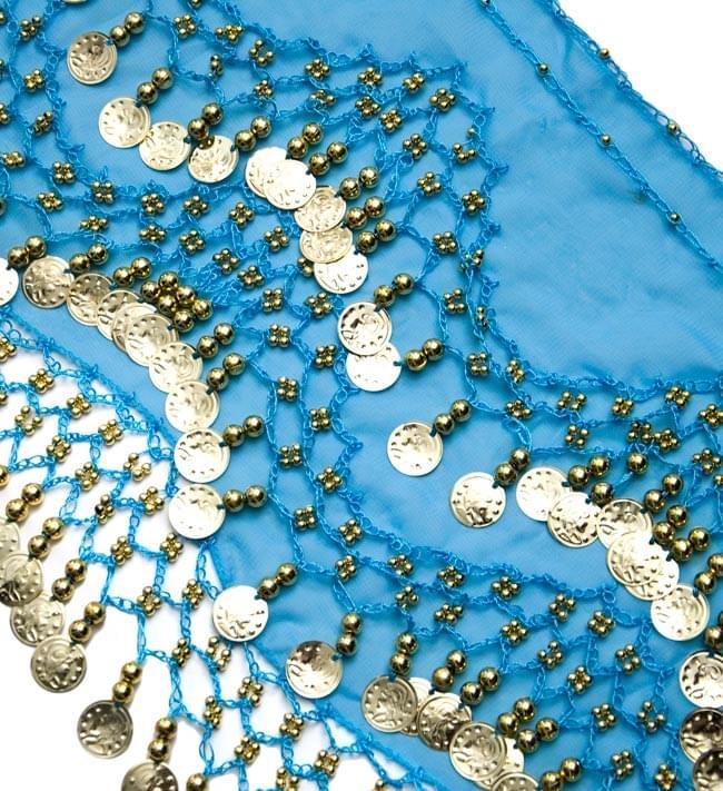 ベリーダンス ヒップスカーフ 150コイン - 水色 2 - コインが光を綺麗に反射してくれます!