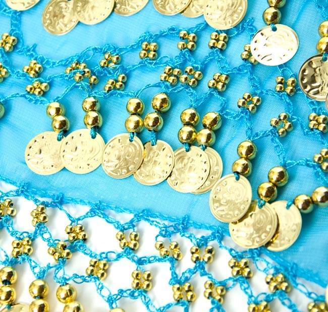 ベリーダンス ヒップスカーフ 150コイン - 水色 3 - 拡大写真です