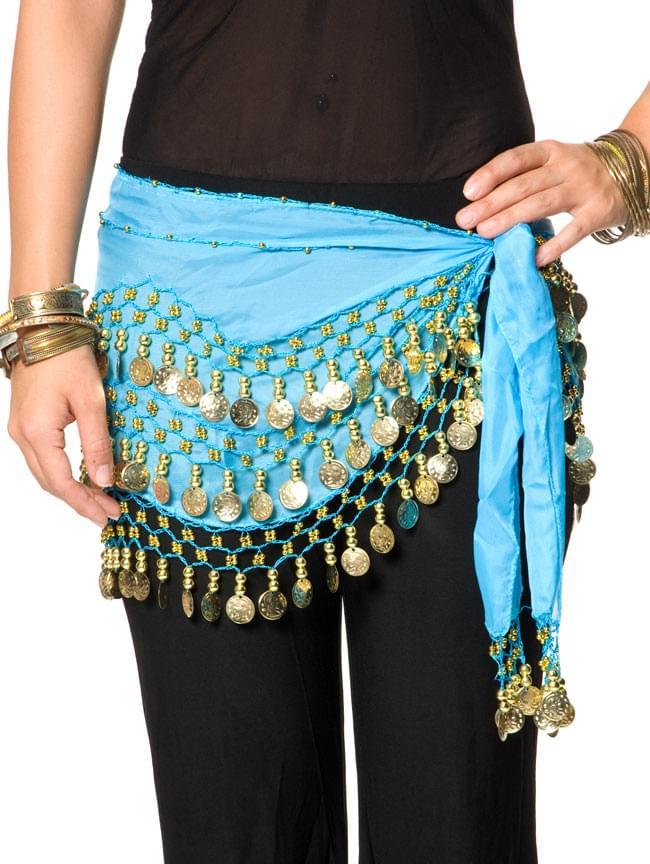 ベリーダンス ヒップスカーフ 150コイン - 水色 5 - 踊ったときの音も素敵な一品です