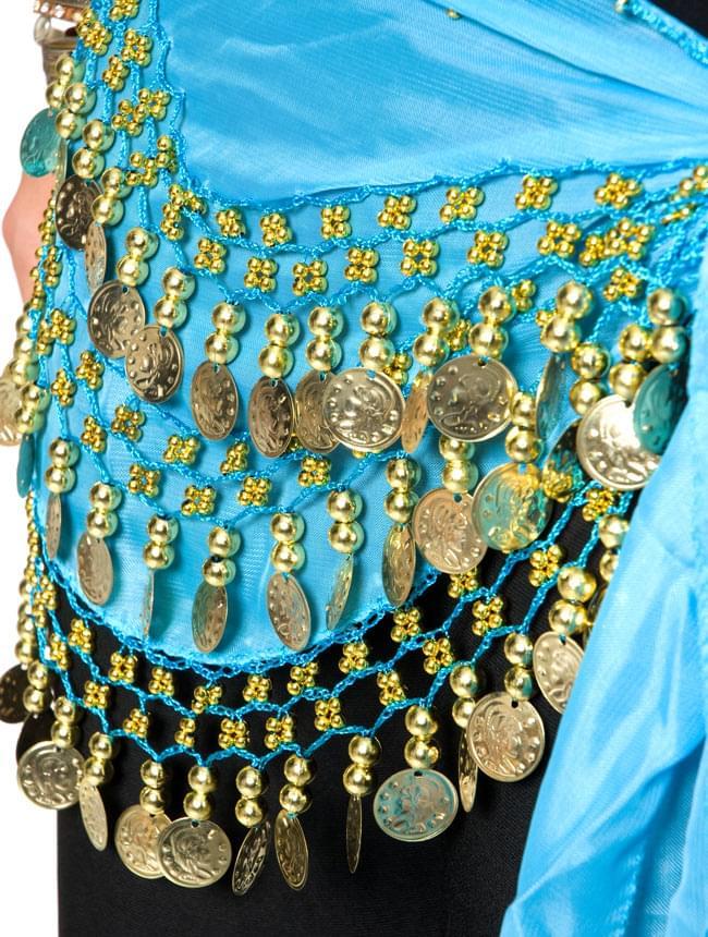 ベリーダンス ヒップスカーフ 150コイン - 水色 6 - 拡大写真です