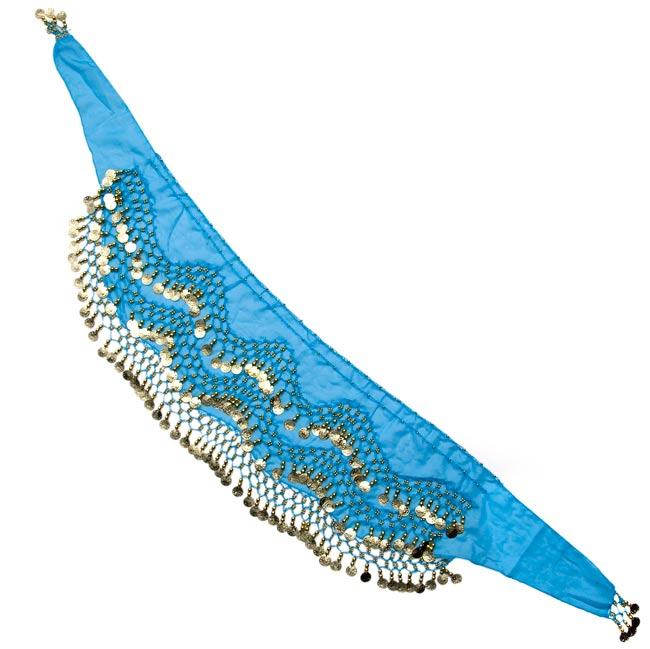 ベリーダンス ヒップスカーフ 150コイン - 水色の写真