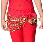 ベリーダンス ヒップスカーフ 150コイン - 赤