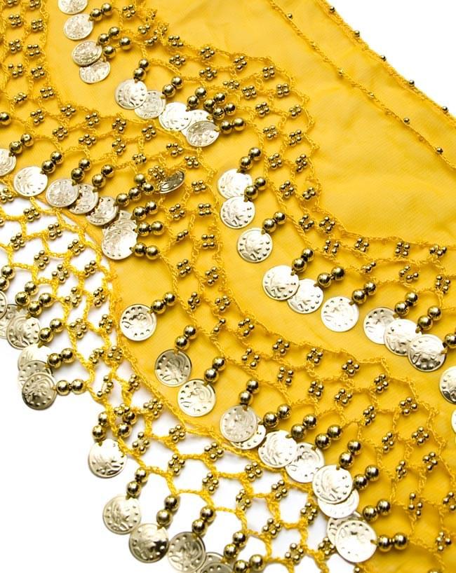 ベリーダンス ヒップスカーフ 150コイン - 黄色 2 - コインが光を綺麗に反射してくれます!