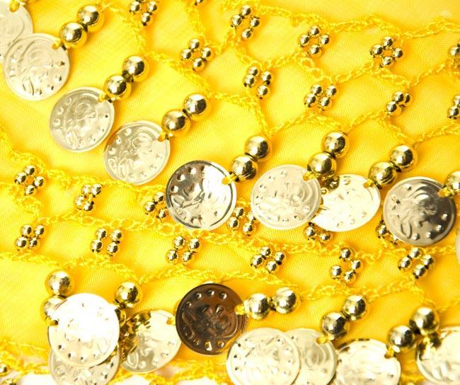 ベリーダンス ヒップスカーフ 150コイン - 黄色 3 - 拡大写真です