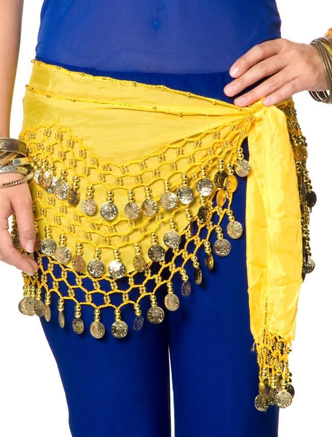 ベリーダンス ヒップスカーフ 150コイン - 黄色 5 - 踊ったときの音も素敵な一品です