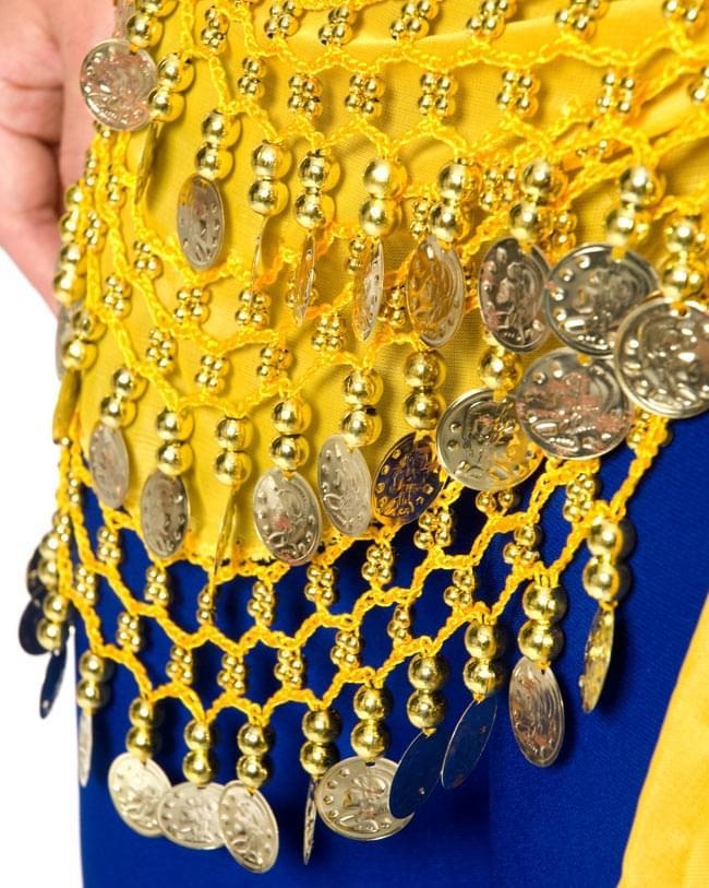 ベリーダンス ヒップスカーフ 150コイン - 黄色 6 - 拡大写真です