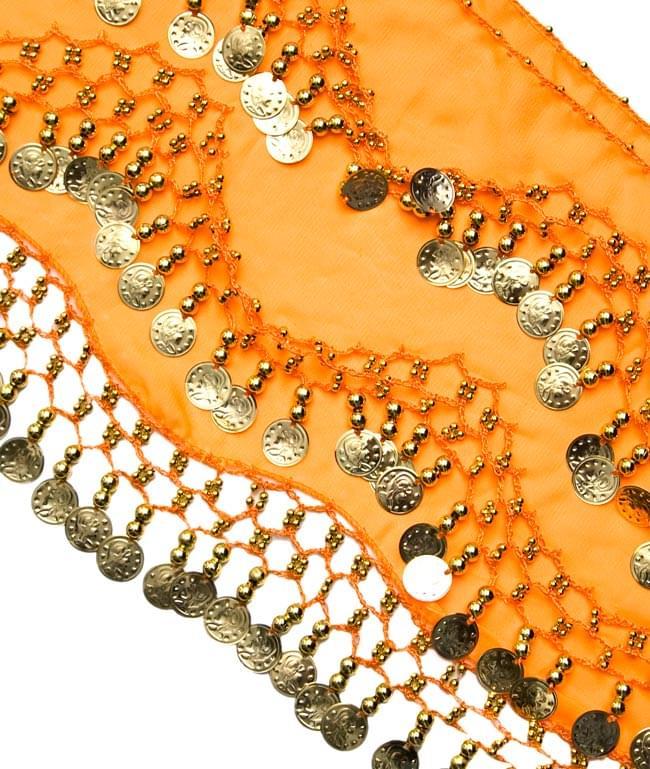 ベリーダンス ヒップスカーフ 150コイン - オレンジ 2 - コインが光を綺麗に反射してくれます!